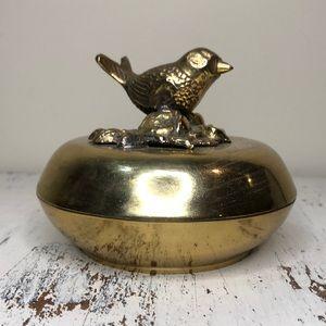 Vintage Brass Bird Trinket Dish